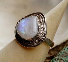 Solitär Silberring 60 Mondstein Handarbeit Blau Tropfen Silber Ring Kordel Kugel