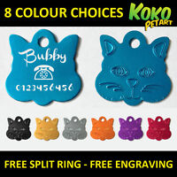 Cat Face Tag Kitten Pet ID Tags Aluminium Personalised Engraved 2 Sizes 8 Colors
