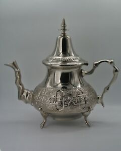 Moroccan Large Tea Pot Handmade Serving 12 Tea Cups Brass Silver Plated African