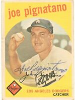 1959 Topps Baseball Signed Auto Joe Pignatano Los Angeles Dodgers Card #16