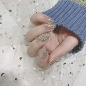 Rhinestones Diy Full Artificial False Nail Tips Holographic Silver 3D Glitter