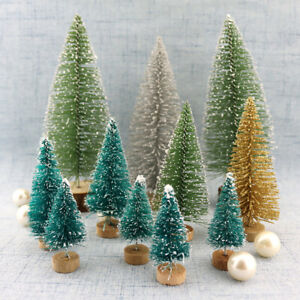 New Mini Christmas Tree Fake Pine Tree Sisal Bottle Brush Snow Frost Tree Decor