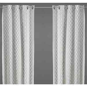 """Ikea Henny Rand Curtains 1 Pair White, Brown, Gray 2 Panels 57"""" X 98"""" 801.739.16"""
