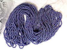 Vtg 4 half HANKS DENIM /PURPLE MIX MATTE BLUE SEED BEADS CZECH  11/0 #030612x