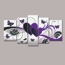 Framed Hand Paint Canvas Oil Painting Pic Home Decor Wall Art Love Heart Purple