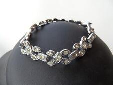 Vintage detailed silver toned diamante clasp bracelet wedding mother of bride