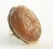 Large Antique Georgian Carved Red Agate Bird Ring 15k Yellow Gold Size 5