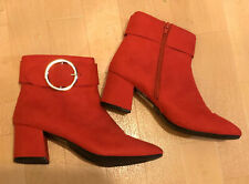 Primark Red Boots Zip Up Size 7 New