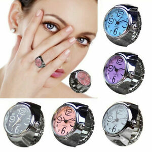 Men Women Finger Rings Watch Steel Tone Round Dial Elastic Quartz Ring Gifts