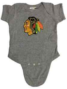 Chicago Blackhawks SAAG BABY INFANT Gray Lap Shoulder One Piece Outfit