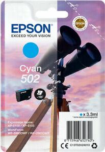 Original Epson 502 Cyan Ink Cartridge T02V240 for XP-5100 XP-5105 WF2860dwf