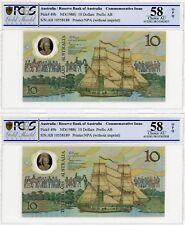 1988 58 Choice AU Australian Ten Dollar Banknote Johnston/Fraser Pair
