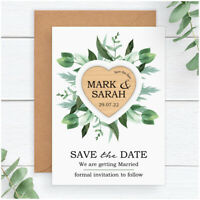 Eucalyptus Greenery PERSONALISED Wedding Save The Date Wooden Heart Magnets