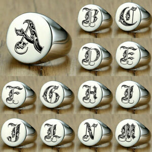 Mens Male Signet Ring Signature Ring Silver Initials Royal Initialen Letters