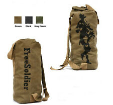 Army Military Canvas Waterproof Duffle Bag Surplus Bag Backpack Navy Brown Small