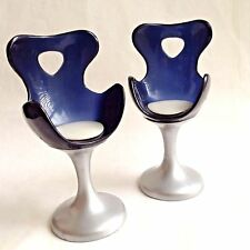 Barbie Bratz Doll Salon Egg Chairs Blue Gray Bus Dollhouse Furniture Set of 2