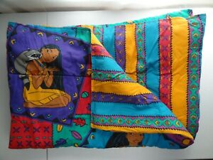 Pocahontas Bedding Comforter VTG 1990's Two-Sided Striped Colors of the Wind 90s
