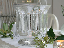 LARGE FRENCH SILVER GLASS HURRICANE LAMP CANDLE HOLDER VOTIVE LANTERN WEDDING