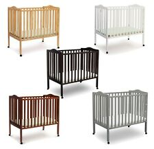 Wood Baby Crib Convertible Toddler Bed with Mattress Folding Portable Nursery