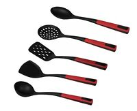 Professional Nylon Slotted Spoon Non-Stick Cooking Kitchen Dining Black Red