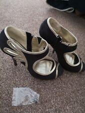 George les encanta sus Zapatos Stiletto Leopardo Negro y Dorado Size UK 6.5 EU 40 Cremallera Lateral