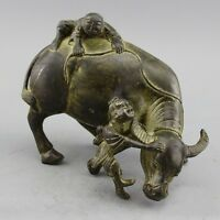 """10.63/"""" China Pure copper Gilt Silvering Hand-made Shepherd boy cattle ox statue"""
