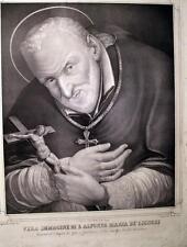 SANT' ALFONSO MARIA DE' LIGUORI,NAPOLI,VESCOVO SANT' AGATA,GRANDE STAMPA ANTICA