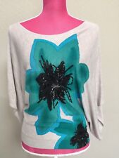 INC Light Sweater Size XS Tan With Blue Green Flower Loose Sleeves