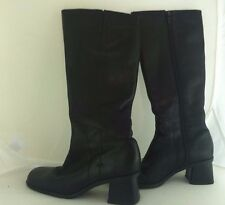 Women's Naturalizer Black Leather Knee High Boots Size 5 1/2 Classic Dressy Boot