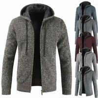 Mens Winter Warm Slim Sweater Knitted Cardigan Jumper Zip Fleece Lined Coat Top