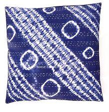 Indian Hand Tie Dye Indigo Blue Embroidered Kantha Cushion Cover Throw Cushion