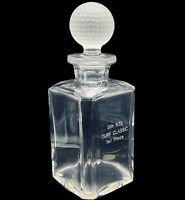 """Val St Lambert Signed Heavy Lead Crystal Golf Motif Decanter w/ Ball Stopper 10"""""""