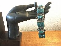 Vintage Mexico Sterling Silver Carved Green Onyx Panel Mask Link Bracelet Heavy