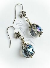 Crystal Ball Earrings...Absolute AB Sparkle..Flower Silver Plated Hooks