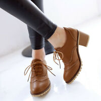 Women Patent Leather Carved Oxford Round Toe lace-up Chunky Heel Boots Shoes