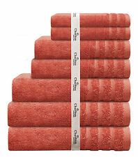 7 Piece 575Gsm Egyptian Cotton Towel Set 2x Bath Hand Face Towels 1x Mat Orange
