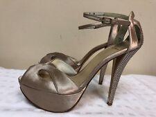 Stuart Weitzman Hirise Misty Satin Women's Evening Platform High Heel Sandal 9M