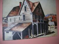 Vintage Folk Art Painting Canvas General Store Old Town Farmhouse Style Signed