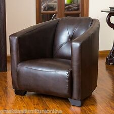 Classic Aviation Inspired Brown Leather Club Chair