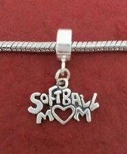 Sterling Silver Softball Mum Charm fits Bracelet solid 925 mom European