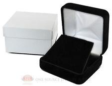 "Black Velvet Metal Pendant Earring Jewelry Gift Box 2 5/8"" x 2 5/8"" x 1 3/8""H"