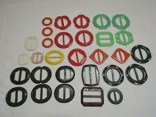 Lot of 29 Vintage Bakelite Plastic Belt Buckle Scarf Slides