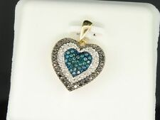 Blue & Black Diamond Heart Pendant Ladies 10K Yellow Gold Round Pave Love Charm
