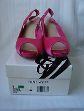 NINE WEST pink satin women sandals party wedding casual size UK 8 EU 41