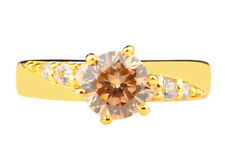 Wedding Ring In 14Kt Yellow Gold 2.50Ct Round Shape White & Champagne Solitaire