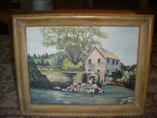 """Oil on board, signed. """"Old Mill"""" by Sally Cole."""