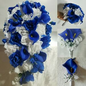 Horizon Royal Blue White Rose Lily Bridal Wedding Bouquet & Accessories