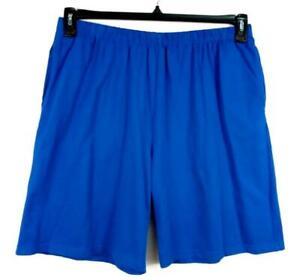 Women's blue pull on stretch mid rise women's plus active bermuda short 1X