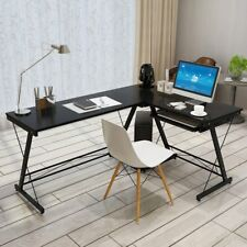 L-Shaped Corner Computer Desk PC Workstation Table  Study With Keyboard Tray