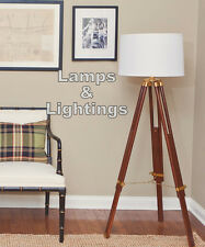Wooden Tripod FLOOR LAMP LIGHT Marine Brass Tripod Old Style Floor Lamp